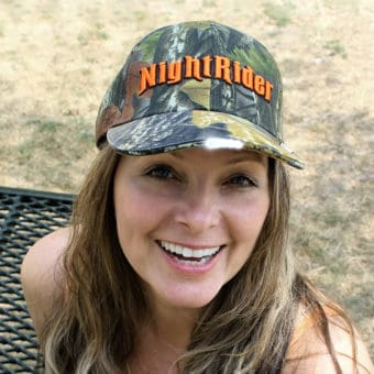 NightRider Camo hat with led lights in bill and adjustable strap for universal fit