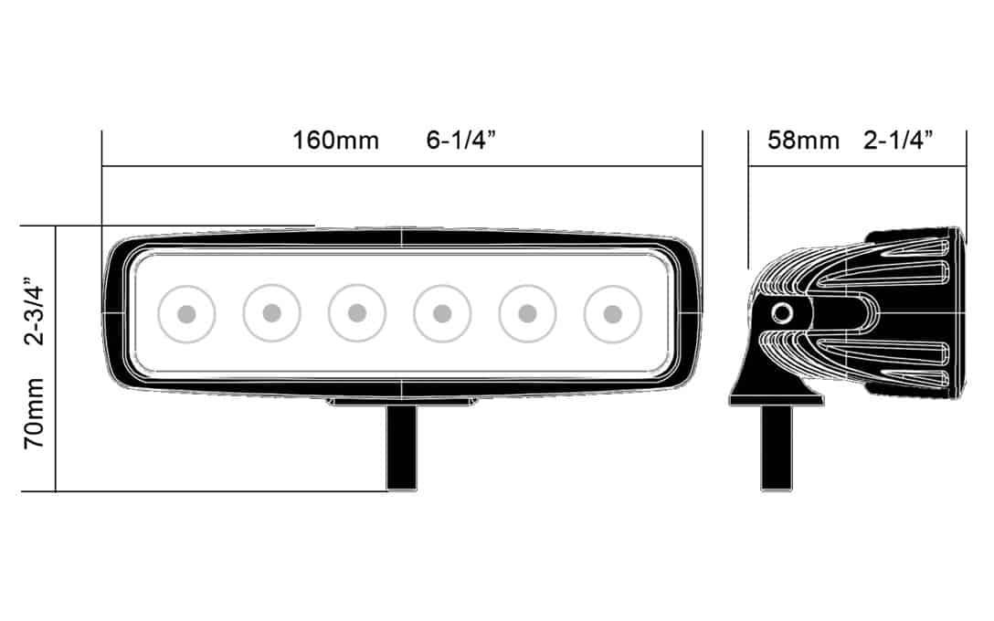 6 u0026quot  compact light bar - 18w flood