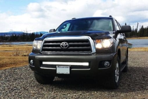 Grey Toyota Sequoia with a NightRider 40 inch light bar mounted in bumper part id N2240