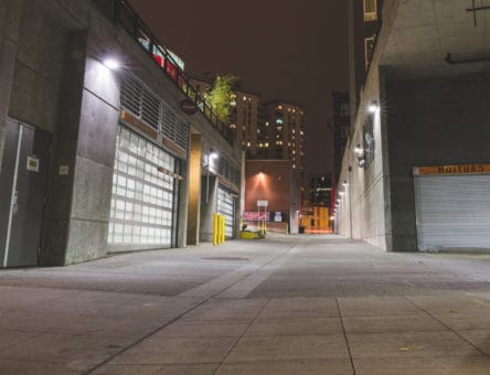 Alley between between buildings using NightRider full cut off led wall packs