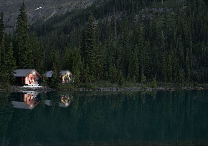 Remote Lakeside Cabins with Solar Lights